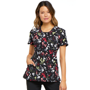 Women's  Blossoms For Days Infinity Round Neck Scrub Top