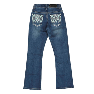 Girls'  Teal Diamond Embroidered Pocket Boot Cut Jean