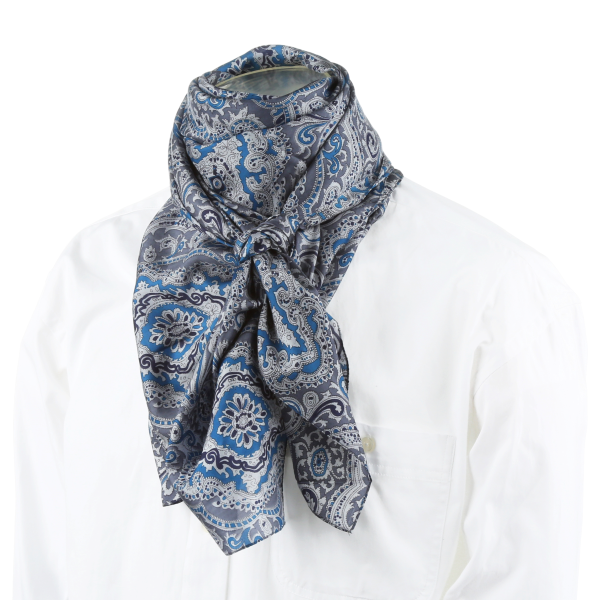Midnight Blues Paisley Silk Scarf
