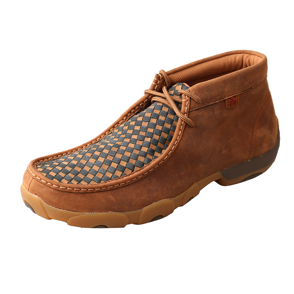 Basketweave Driving Mocs Ankle Shoe