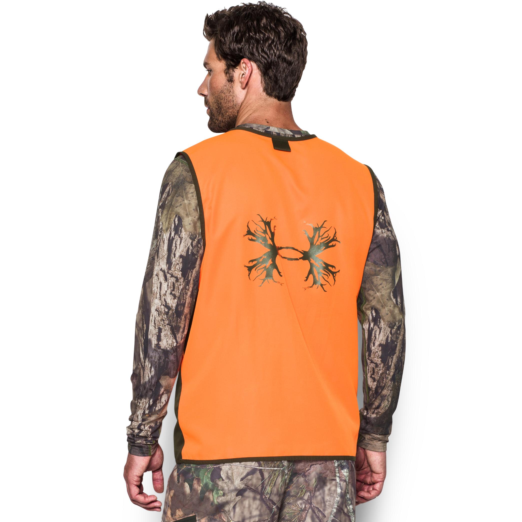Under Armour Men/'s Blaze Orange UA Blaze Antler Logo Hunting Full Zip Vest