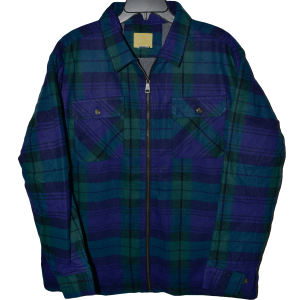 Men's  Sherpa Lined Zip Up Plaid Shirt Jacket
