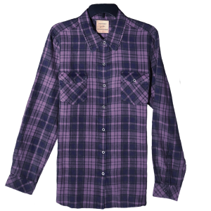 Women's  Washed and Distressed Long Sleeve  Flannel Plaid
