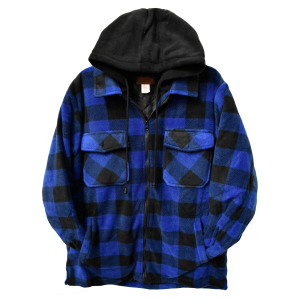 Men's  Printed Fleece Button Up Jacket With Hood