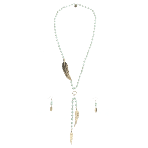 Women's  Feather and Mint Sparkle Bead Jewelry Set
