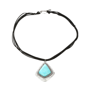 Women's  Leather Strand Turquoise Pendant Necklace