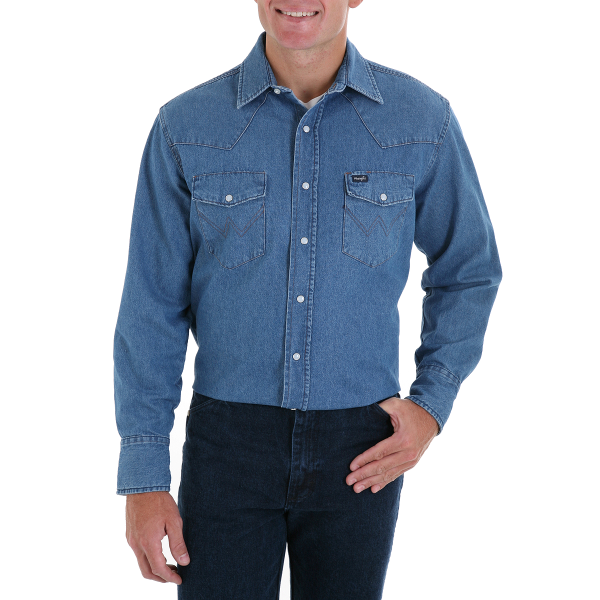 Cowboy Cut Work Western Denim Long Sleeve Shirt-Stone Wash