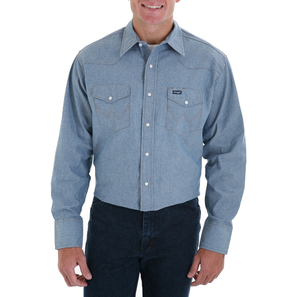 Cowboy Cut Work Western Long Sleeve Shirt-Chambray