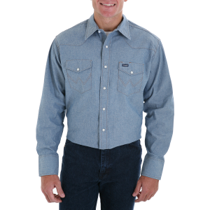 Men's  Cowboy Cut Work Western Long Sleeve Shirt-Chambray
