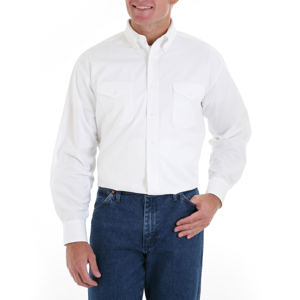 White Cotton Western Dress Shirt