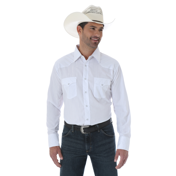 Silver Edition White Mitered Styling Long Sleeve Snap Shirt
