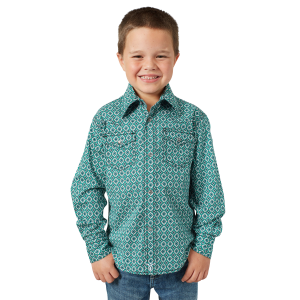 Boys'  20X Competition Advanced Comfort Green/White Print Long Sleeve Snap Shirt