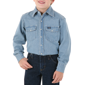 Boys'  Stonewashed Denim Long Sleeve Solid Snap Shirt