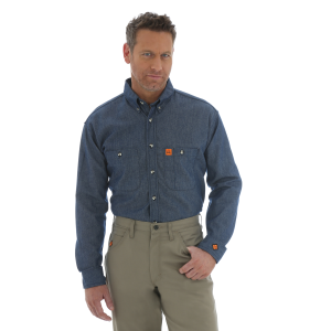 Men's  FR Flame Resistant Long Sleeve Denim Work Shirt