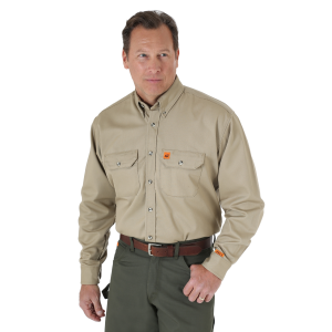 Men's  FR Flame Resistant Flap Pocket Long Sleeve Button Down Shirt