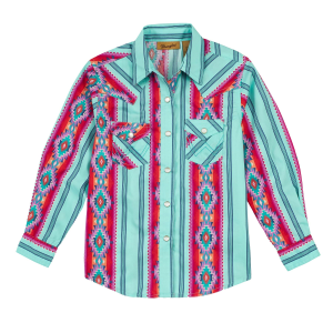 Girls'  Teal Aztec Long Sleeve Snap Shirt