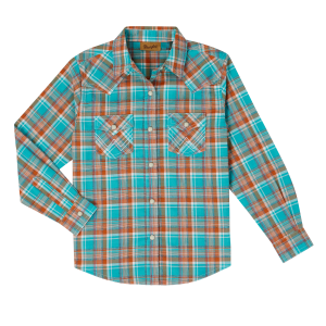 Girls'  Turquoise/Orange Plaid Long Sleeve Snap Shirt