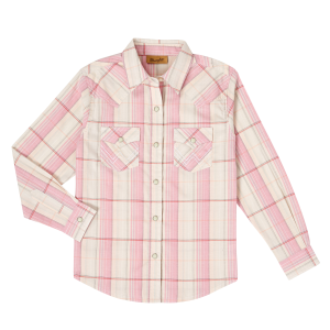 Girls'  Blush Plaid Long Sleeve Snap Shirt