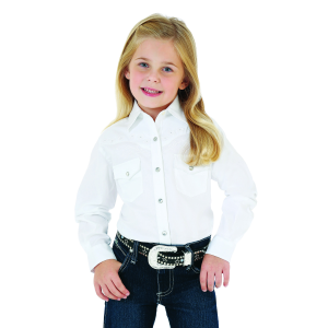 Girls'  Fancy Western Yoke Long Sleeve White Snap Shirt