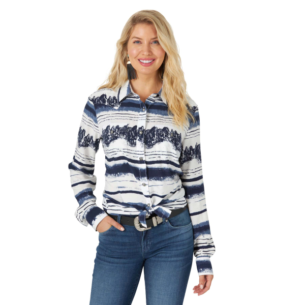 Retro Stampede Landscape Long Sleeve Button Down Shirt