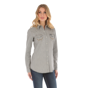 Women's  Gray Denim Long Sleeve Snap Shirt