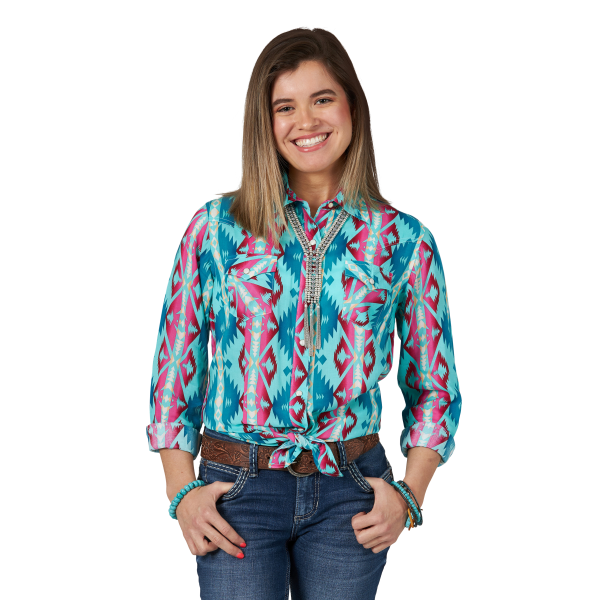 Turquoise Print Western Long Sleeve Snap Shirt