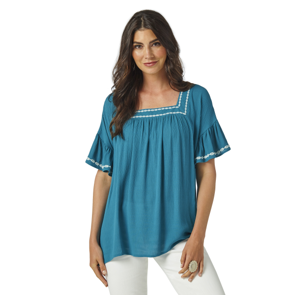 Ocean Blue Embroidered Top