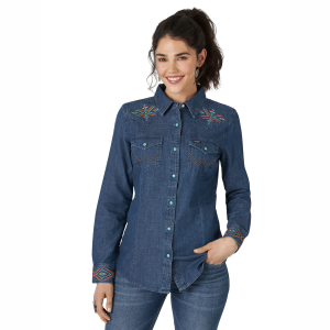 Women's  Embroidered Front Yoke Denim Snap Shirt