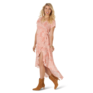 Women's  Retro Pink Floral Wrap Dress