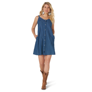 Women's  Retro Indigo Stripe Snap Front Tank Dress