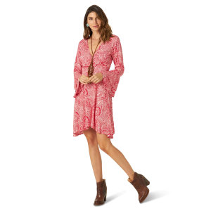Women's  Retro Bell Sleeve Fit and Flare Paisley Print Dress