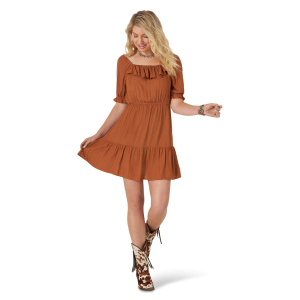 Women's  Retro Square Neck Peasant Dress