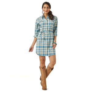 Women's  Teal/Ivory Plaid Shirt Dress