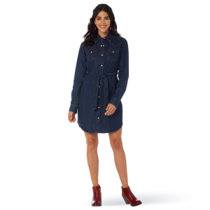 Women's  Embroidered Belted Denim Shirt Dress