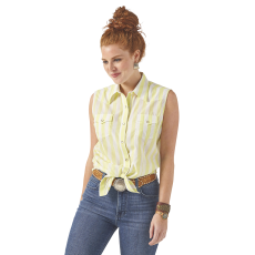 Women's  Sunny Lime Stripe Sleeveless Snap Shirt image