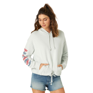 Women's  Retro Graphic Sleeve Crop Hoodie