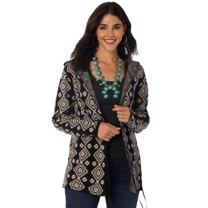 Women's  Black Aztec Hooded Cardigan