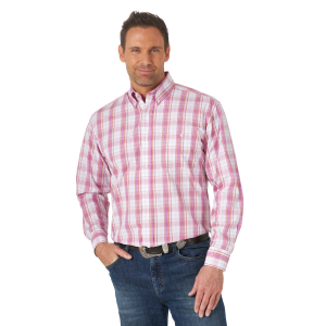 Men's  Classics White/Purple Plaid Long Sleeve Button Down Shirt