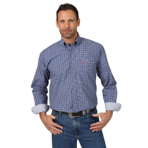Men's  George Strait Poplin Plaid Long Sleeve Button Down Shirt