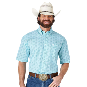 Men's  George Strait Two Pocket Print Short Sleeve Button Down Shirt