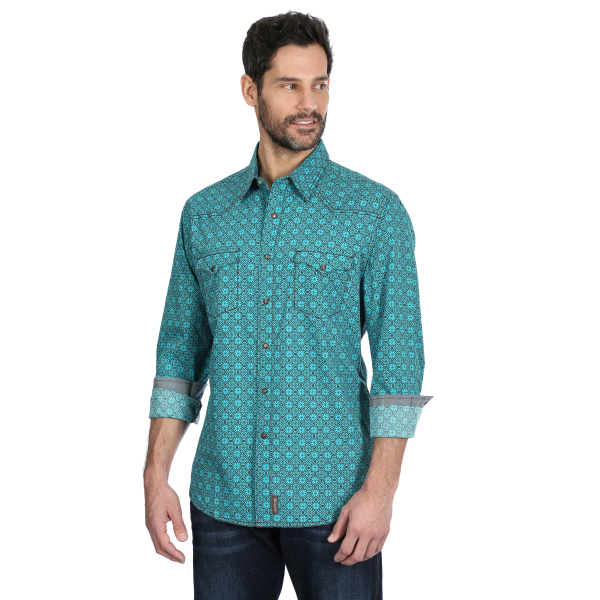 Retro Premium Turquoise/Brown Print Long Sleeve Snap Shirt