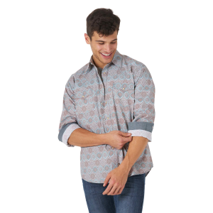 Men's  Retro Premium Multi Print Long Sleeve Snap Shirt