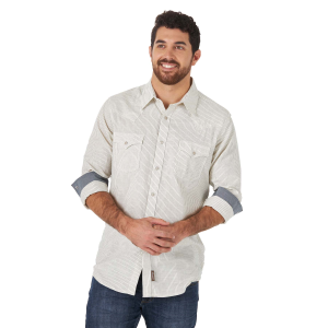 Men's  Retro Premium Ecru Stripe Long Sleeve Snap Shirt