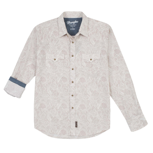 Men's  Retro Premium Ivory Paisley Long Sleeve Snap Shirt