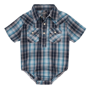 Boys'  Infant Blue/Black Plaid Short Sleeve Bodysuit
