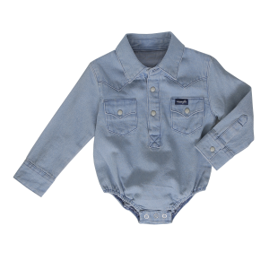 Boys'  Infant Faded Denim Blue Long Sleeve Bodysuit