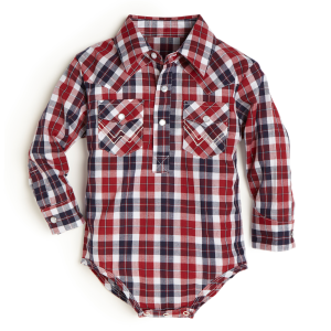 Boys'  Infant Red/Blue Plaid Long Sleeve Bodysuit