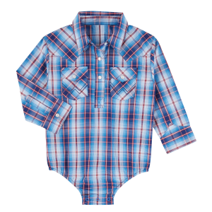 Boys'  Blue/Red Plaid Bodysuit