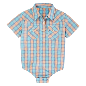 Boys'  Infant Teal/Orange Plaid Short Sleeve Bodysuit
