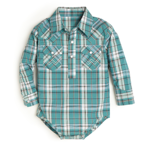 Boys'  Infant Light Blue Plaid Long Sleeve Bodysuit
